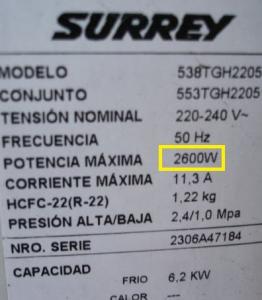 etiqueta de consumo de un electrodoméstico